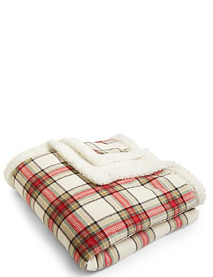 Austin Check Fleece Throw, , catlanding