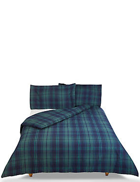 Dalton Check Brushed Bedding Set, NAVY MIX, catlanding