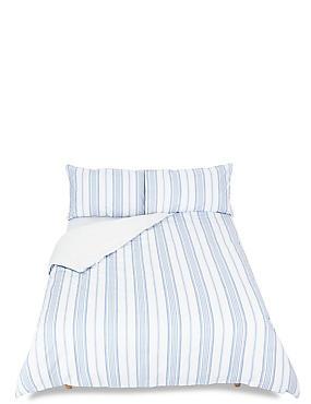 Multi Twill Printed Stripe Bedding Set, BLUE, catlanding