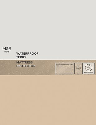 Terry Cotton Waterproof Mattress Protector, WHITE, catlanding
