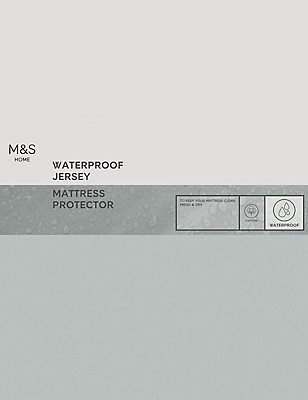 Jersey Cotton Waterproof Mattress Protector, WHITE, catlanding