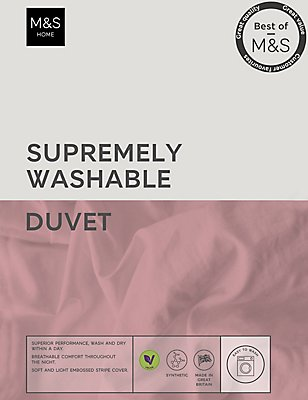 Supremely Washable 4.5 Tog Duvet, WHITE, catlanding