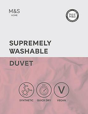 Supremely Washable 4.5 Tog Duvet, WHITE, catlanding
