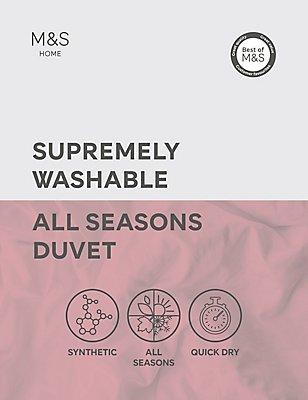 Supremely Washable All Season 13.5 Tog Duvet, WHITE, catlanding
