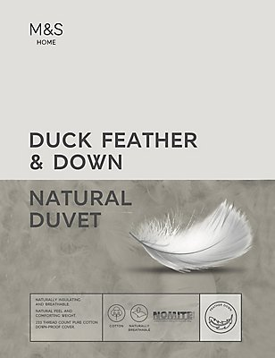 Duck Feather & Down 4.5 Tog Duvet, WHITE, catlanding