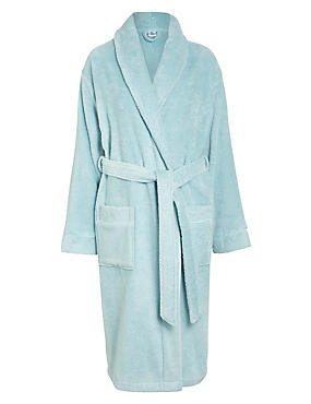 Pure Egyptian Cotton Unisex Dressing Gown, DUCK EGG, catlanding