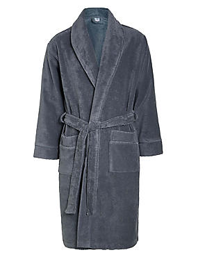 Pure Egyptian Cotton Unisex Dressing Gown, CHARCOAL, catlanding