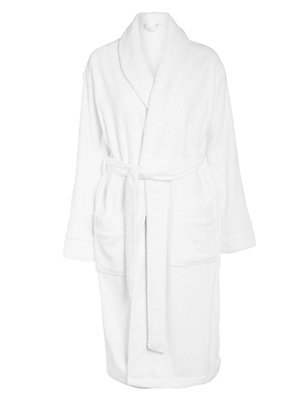 Pure Egyptian Cotton Unisex Dressing Gown, WHITE, catlanding