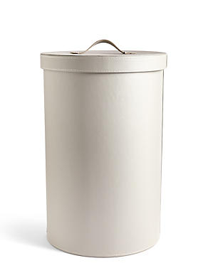 Faux Leather Laundry Bin, GREY, catlanding