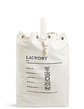 Casual Canvas Laundry Bag, , catlanding