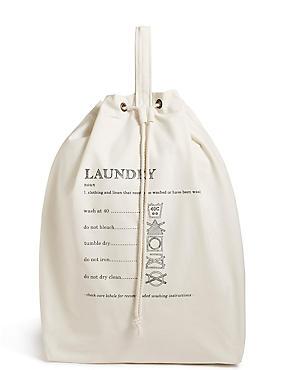 Casual Canvas Laundry Bag, NATURAL MIX, catlanding