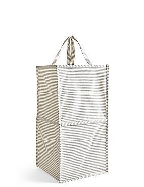 Pop Up Striped Canvas Laundry Bin, , catlanding