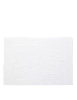 Lightweight Cotton Bath Mat, WHITE, catlanding
