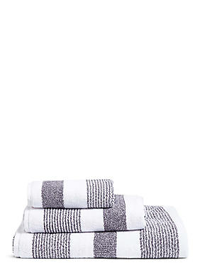 Hadley Striped Towels, CHARCOAL MIX, catlanding