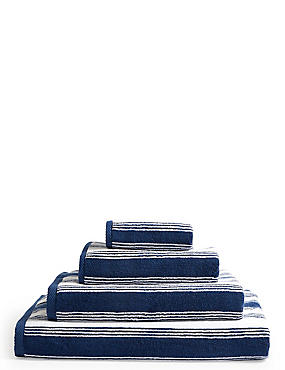 Contemporary Striped Towel, NAVY, catlanding