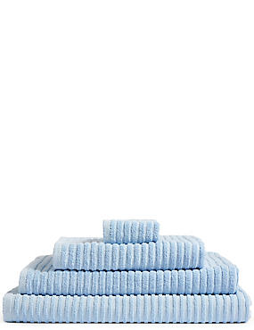 Quick Dry Ribbed Towel, CHAMBRAY, catlanding