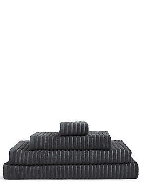 Quick Dry Ribbed Towel, CHARCOAL, catlanding