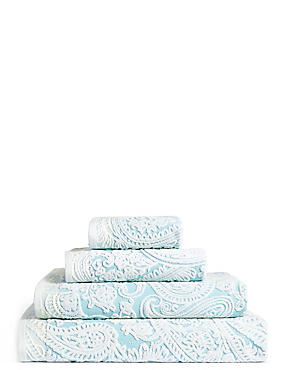 Paisley Embossed Cotton Towel, DUCK EGG, catlanding