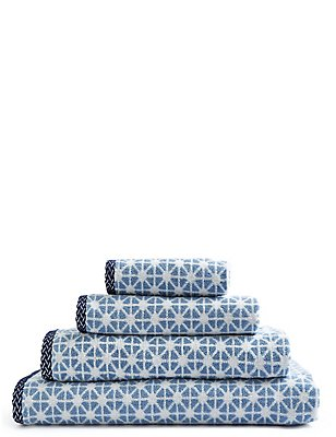 Geometric Print Towel, BLUE MIX, catlanding