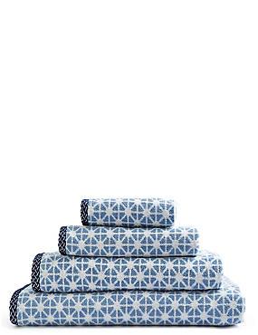 Handtuch mit geometrischem Muster, BLAU MELANGE, catlanding