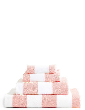 Wide Striped Towel, CORAL, catlanding