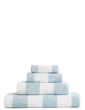 Wide Striped Towel, BLUE, catlanding