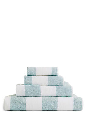 Wide Striped Towel, DUCK EGG, catlanding