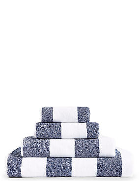 Wide Striped Towel, NAVY, catlanding