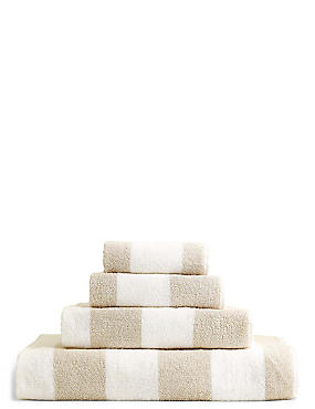 Wide Striped Towel, NATURAL, catlanding