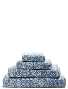 Multi Tile Towel, BLUE MIX, catlanding