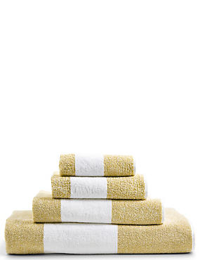 Wide Striped Towel, OCHRE, catlanding