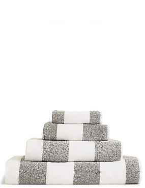 Wide Striped Towel, CHARCOAL, catlanding