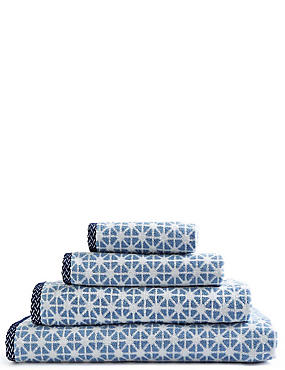 Geometric Print Star Towel, BLUE, catlanding