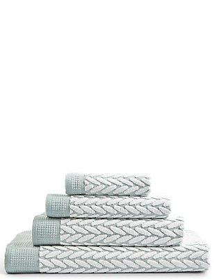Contemporary Geometric Print Towel, DUCK EGG, catlanding