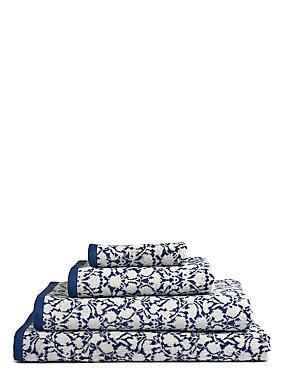 Floral Leaf Towel, NAVY, catlanding