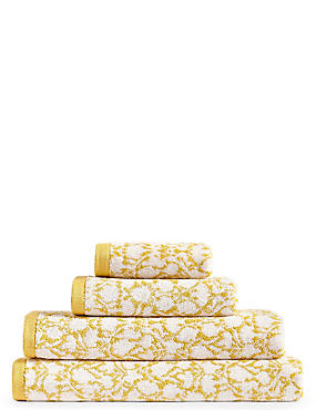 Floral Leaf Towel, OCHRE, catlanding
