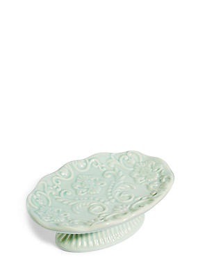 Fiorella Embossed Soap Dish, SOFT GREEN, catlanding