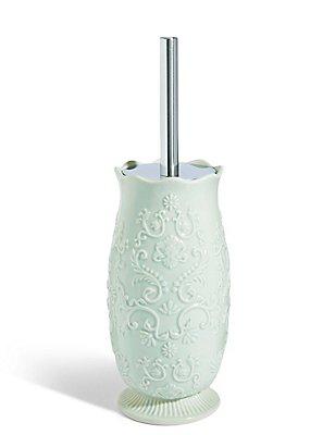 Fiorella Embossed Toilet Brush Holder, SOFT GREEN, catlanding