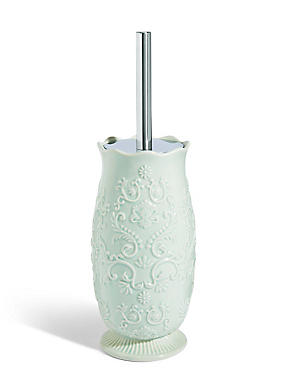 Fiorella Embossed Toilet Brush Holder, SOFT GREEN, catlanding