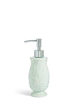 Fiorella Embossed Soap Dispenser, SOFT GREEN, catlanding