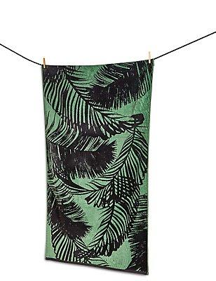 Strandhanddoek met ingeweven palmmotief, , catlanding
