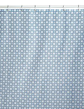 Coastal Geometric Shower Curtain, BLUE MIX, catlanding