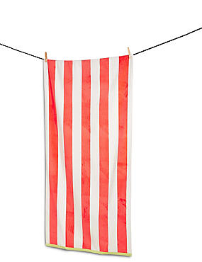 New Velour Wide Striped Beach Towel, CORAL, catlanding
