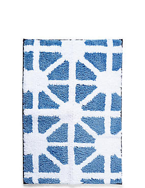 Tapis de bain et contour lavabo/WC à motif géométrique, séchage rapide, BLEU ASSORTI, catlanding