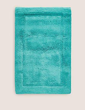 Pure Cotton Bath Mat, TEAL, catlanding