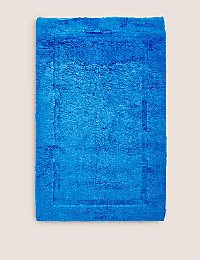 Pure Cotton Bath Mat, ROYAL BLUE, catlanding