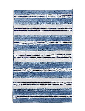 Spa Striped Bath & Pedestal Mats, BLUE, catlanding