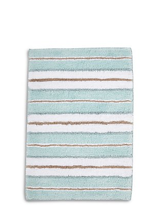 Spa Striped Bath & Pedestal Mats, DUCK EGG, catlanding