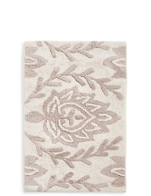 Decorative Floral Bath Mat , NATURAL, catlanding