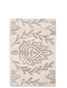 Decoratieve gebloemde badmat , NATUREL, catlanding